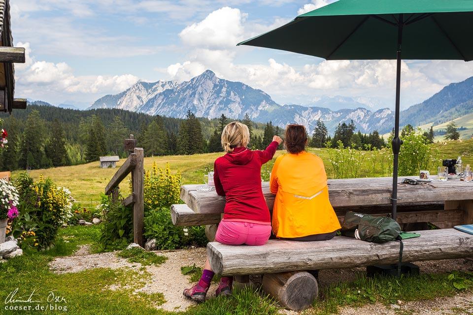 Aussicht von der Labenbergalm-Lienbachhütte auf der Postalm