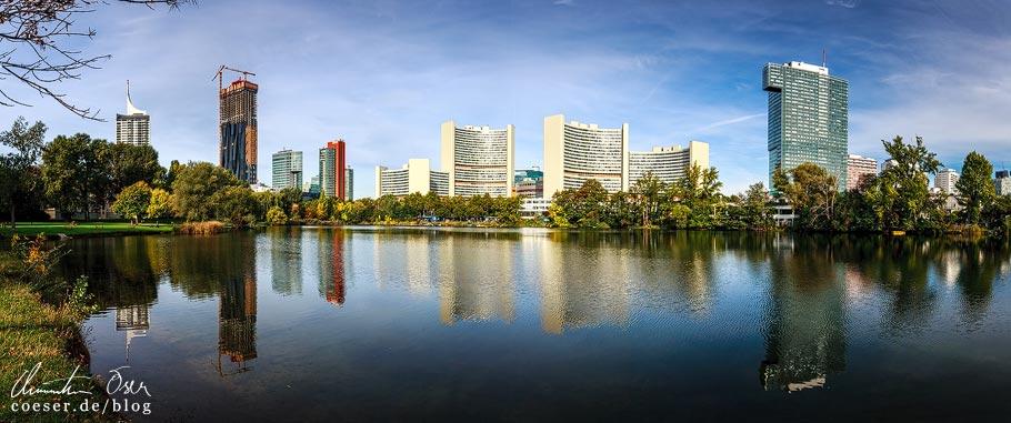 Fotospots Wien: Spiegelung Skyline Donaucity im Kaiserwasser