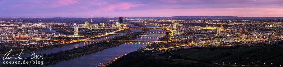 Fotospots Wien: Sonnenuntergang über Wien vom Leopoldsberg aus gesehen