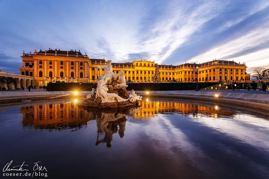 Fotospots Wien: Schloss Schönbrunn zur blauen Stunde