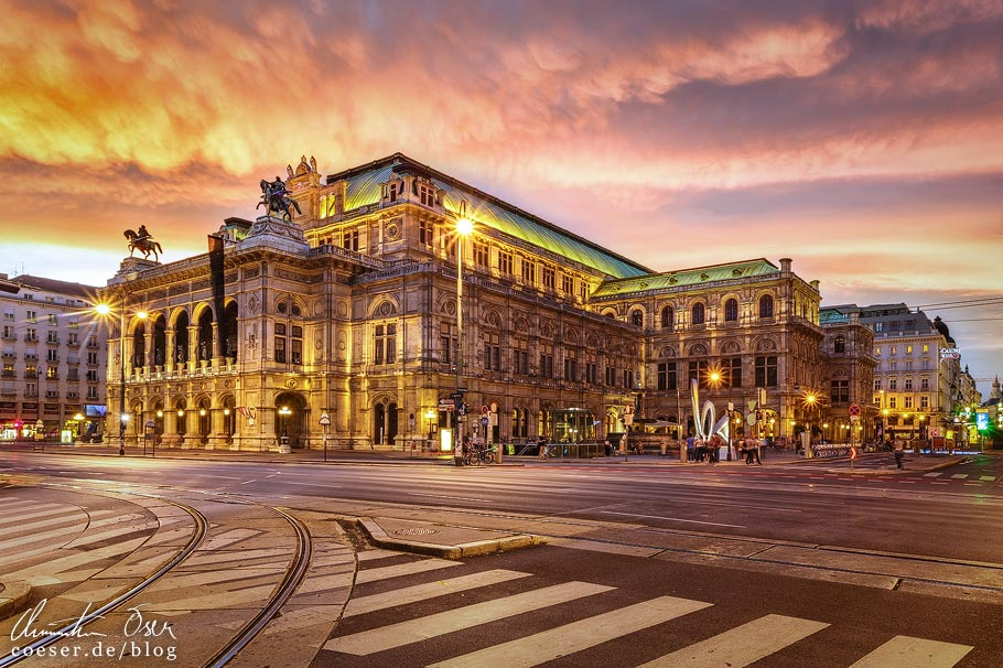 Fotospots Wien: Sonnenuntergang über der Staatsoper