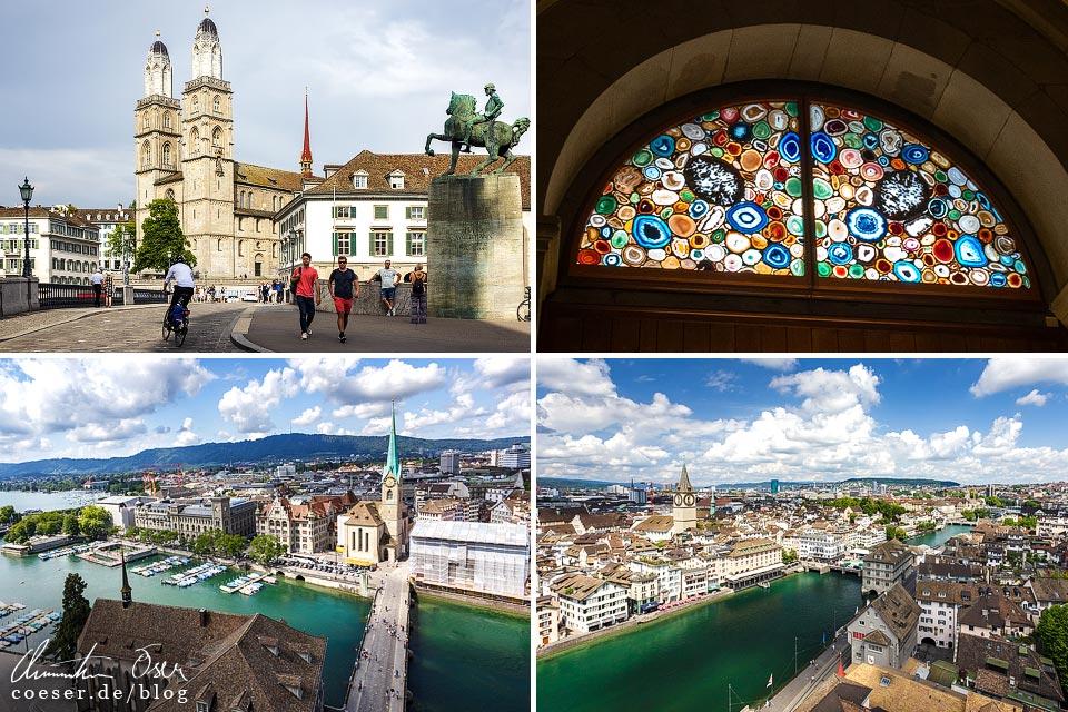 Eindrücke vom Großmünster und Aussicht auf Zürich