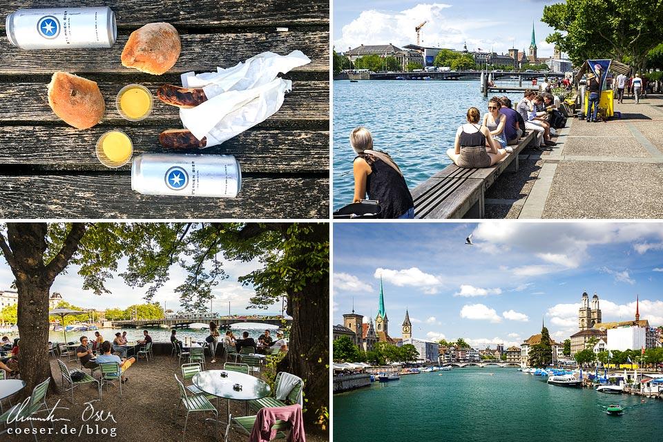 Bratwurst mit Bürli vom Sternen Grill am Zürisee, Biergarten Bauschänzli in Zürich