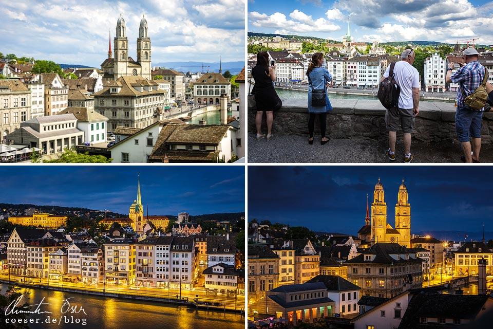 Ausblicke vom Lindenhof in Zürich