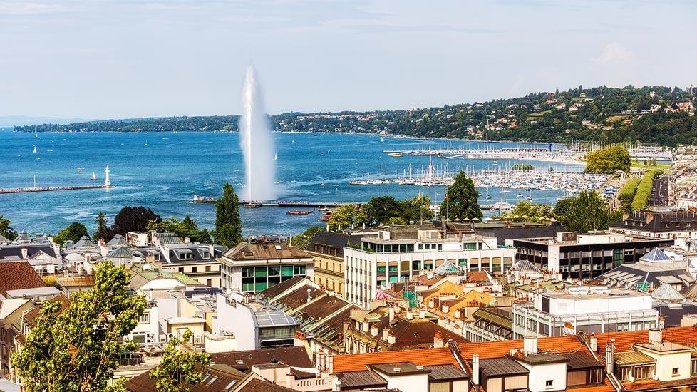 Stadtansicht von Genf mit Genfersee