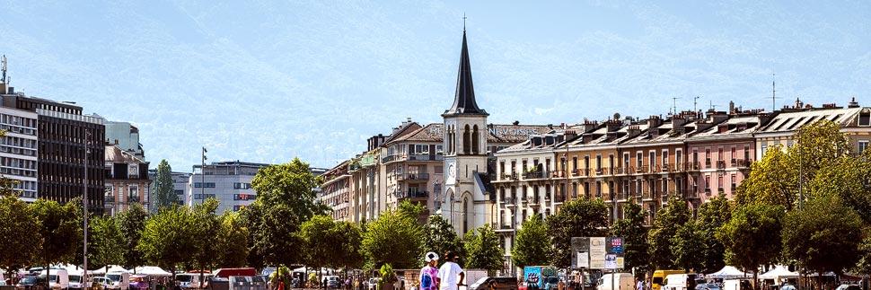 Stadtansicht von Genf am Plaine de Plainpalais