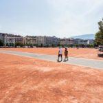 Der Platz Plaine de Plainpalais in Genf