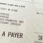 Rechnung in einem Genfer Café