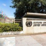 Eingang zum Völkerbundpalast (Palais des Nations) der Vereinten Nationen (UNO) in Genf
