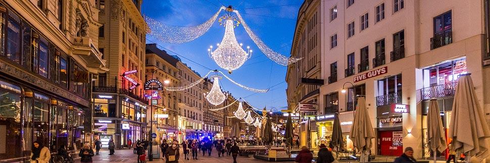 Weihnachtsbeleuchtung auf dem Graben in Wien
