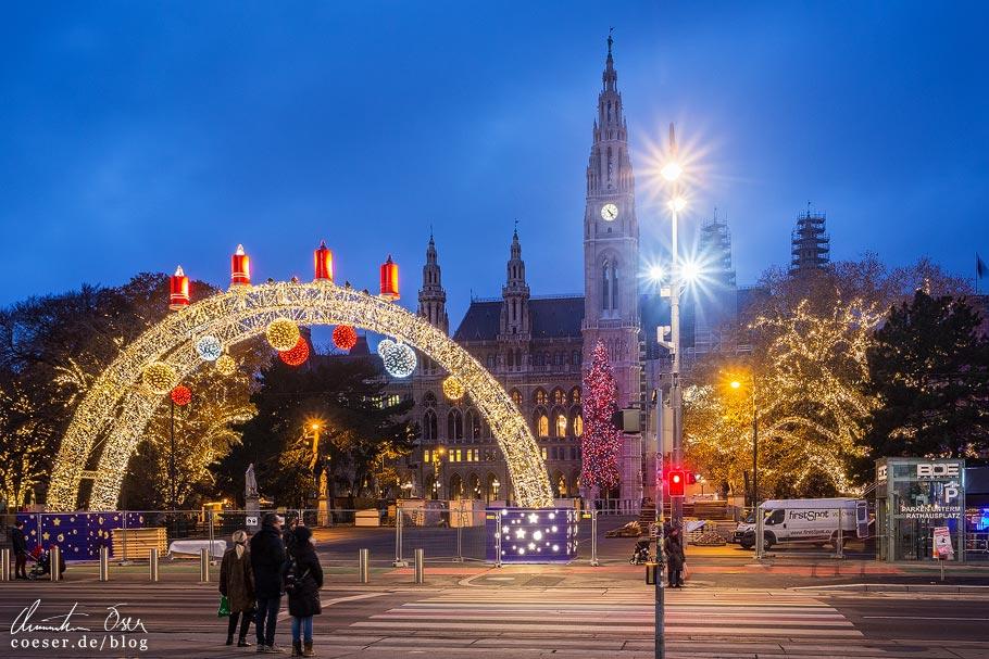 Christkindlmarkt am Rathausplatz während der Coronaviruskrise
