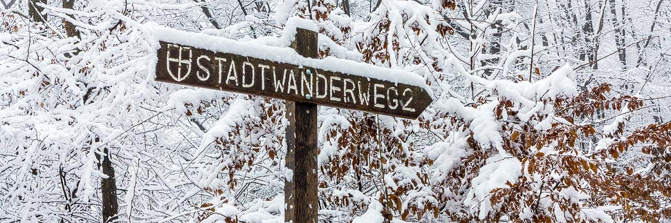 Schild Stadtwanderweg 2 in Wien im Schnee