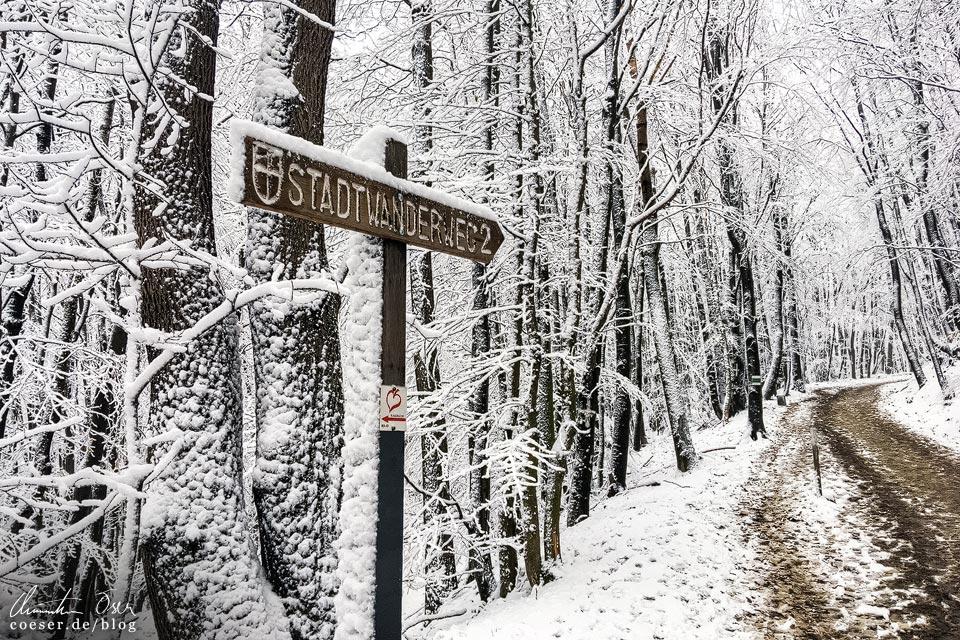 Stadtwanderweg 2 in Wien: Wegweiser im Winter