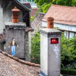 Straßenkunstwerk Space Invaders in Lausanne
