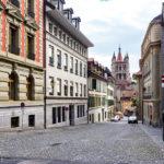 Blick von der Rue Cité-Devant auf die Kathedrale Notre-Dame