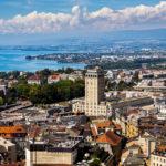 Aussicht auf Lausanne vom Turm der Kathedrale Notre-Dame