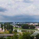 Blick vom Aussichtsturm Püspökvár in Richtung Norden von Györ