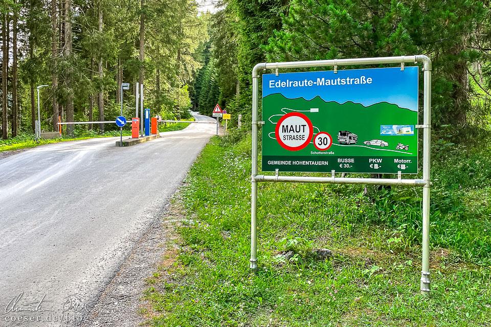 Beginn der Edelraute-Mautstraße in Hohentauern