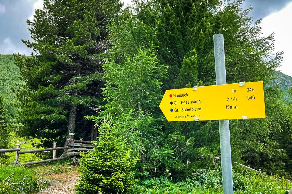 Wegweiser zum Großen Scheibelsee, Hauseck und Großer Bösenstein
